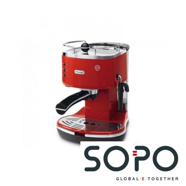 DeLonghi ECO 311.R Freistehend Espressomaschine 1.4l 2Tassen Schwarz, Rot, Edelstahl